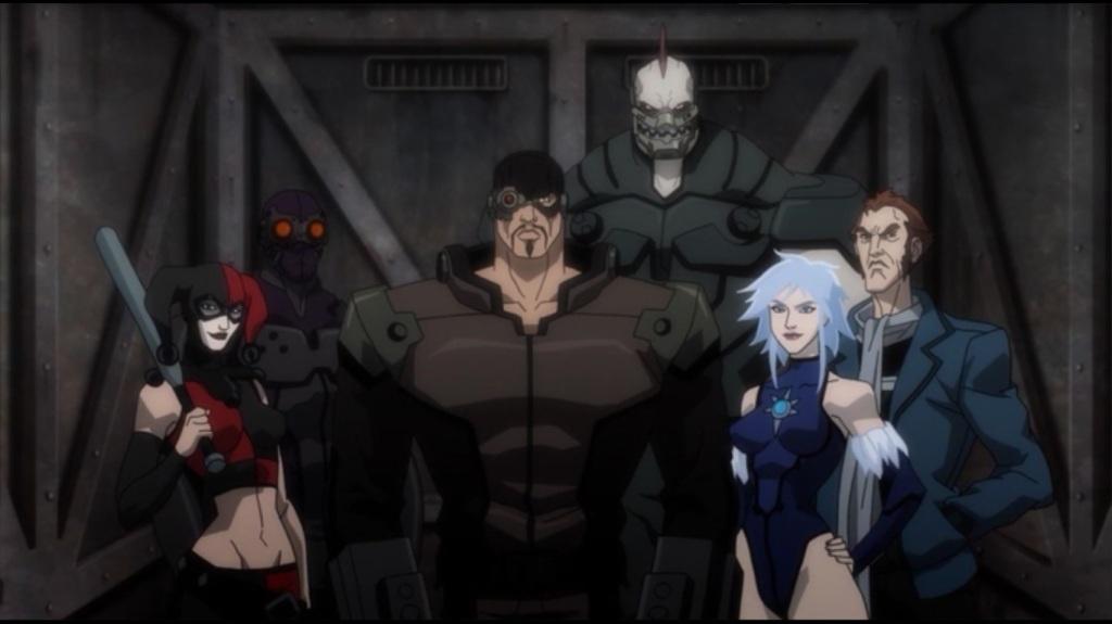 Da esquerda pra direita: Arlequina, Aranha Negra, Pistoleiro, Rei Tubarão, Nevasca e Capitão Bumerangue.